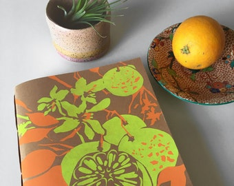 Yellow Orange Fruit Silkscreen Hand bound Journal