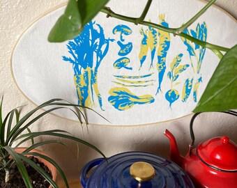 Vegetable Silkscreen Print Embroidery Hoop Frame Wall Art