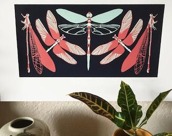 Red, Mint, Navy Dragonfly 12x18 Silkscreen Print