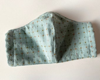 Blue Green Sage Sashiko Stitching Pattern Facemask with Pocket for Filter and Nose Wire Sleeve