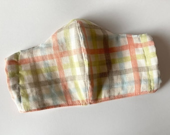 Orange Sherbet Lime Green Gray Checkered Plaid Facemask with Pocket for Filter and Nose Wire Sleeve