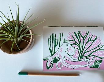Octopus Silkscreen Cover Handbound Journal