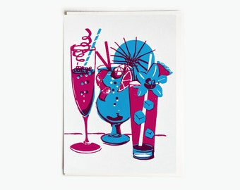 "Blue Magenta Birthday Cheers Cocktail Handmade Silkscreen Greeting Card 5x7"""
