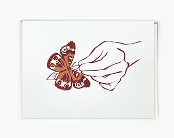 Butterfly in Hand Silkscreen Blank Card