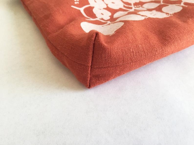 Pomegranate Fruit Print  Burnt Orange Sienna Rust  Silkscreen Zipper Bag