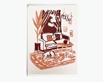 Burgundy, Yellow-Orange, Dog Pet at Home Silkscreen Greeting Card 5x7