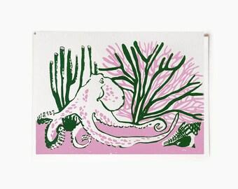 """Green Pink Octopus Handmade Silkscreen Greeting Card 7x5"""""""