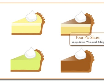 Four Slices of Pie Graphic Illustration. Zip file includes ai.,eps., small & large PNG file.
