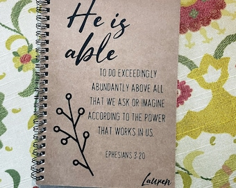 """Personalized Journal, """"Exceedingly, Abundantly More than All We Ask or Imagine"""", Ephesians 3:20"""