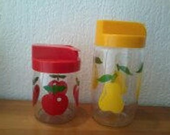 Decorative and utility glass jars, jars with vintage 70s spout