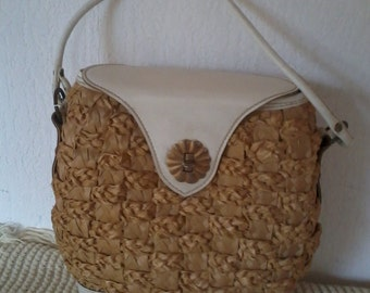 basket 1960's Wicker handbag
