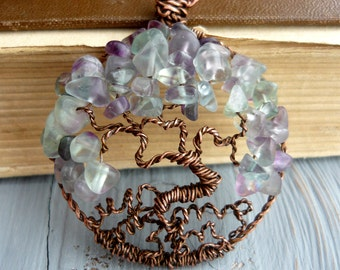Tree of life Copper jewelry Tree of life jewelry Gift for her Tree life necklace Tree of life pendant Green purple stone tree pendant Tree