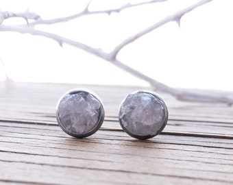 Rose quartz stud earrings Stone post earrings Bridesmaid gift Stainless steel Natural stone stud earrings Gift for her Gemstone round studs