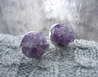 Amethyst earrings Stud earrings Birthstone jewelry Stone stud earrings Amethyst stone studs Purple earrings Purple gemstone earrings stud