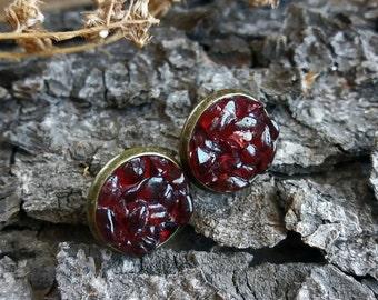 Stud earrings Garnet earrings Gift for women January birthstone earrings Everyday stone studs Gift for her Garnet studs Stone stud earrings