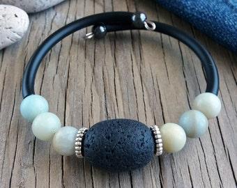 Cuff bracelet Lava amazonite stone bracelet Elegant bracelet Gift for her Lava jewelry Blue black bracelet Gift for girlfriend Jewelry cuff