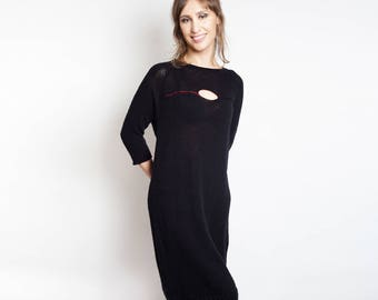 Winter Loose Dress, Wool Dress, Sweater Dress, Oversized Dress Long, Women Long Dress Warm, Wool Dress Long, Warm Dress Black, Midi Dress
