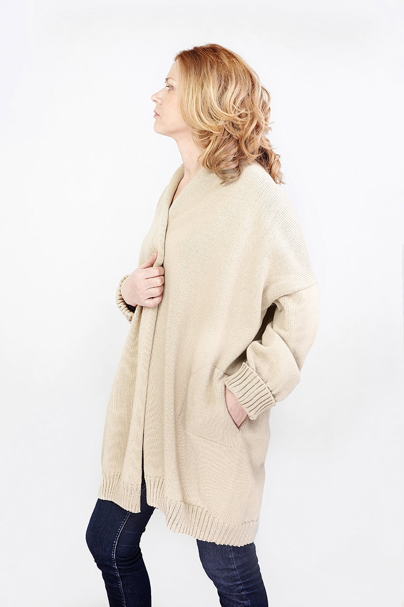 Wool and Cotton sweater Spring Cape coat Loose fit cardigan Wool cardigan with pockets