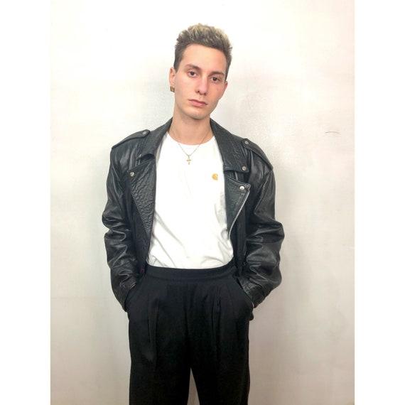 80s biker leather jacket
