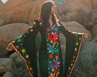 Black & Yellow Mexican Embroidered Dress, Bohemian Maxi - READY TO SHIP