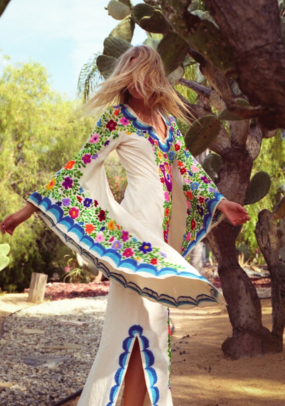 Mexican Wedding Dress Boho Wedding Gown Maxi Caftan Dress Etsy