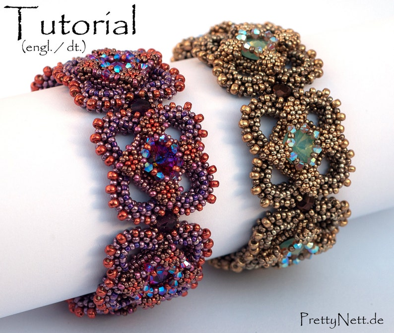 Beading Pattern  Beading Tutorial for bracelet Carré image 0