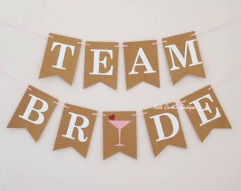 Team Bride bunting, Wedding decor, Hen party, Bachelorette party, Bridal shower decor