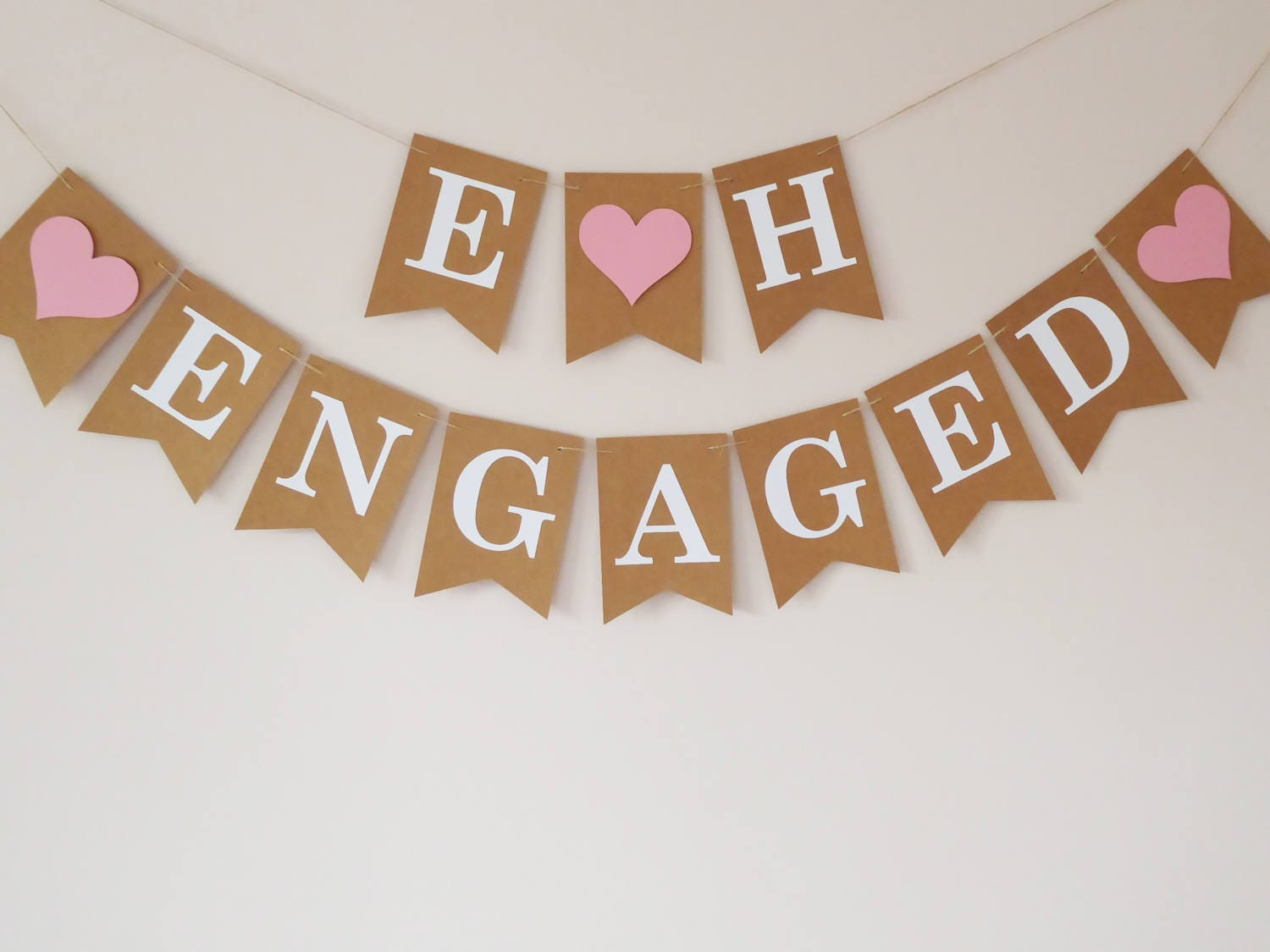 Engagement Decoration Initials Engaged Bunting Banner