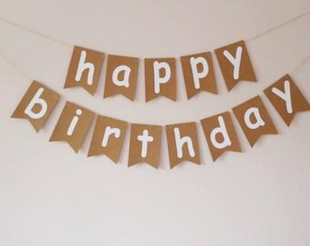 Happy birthday bunting banner, Birthday decorations