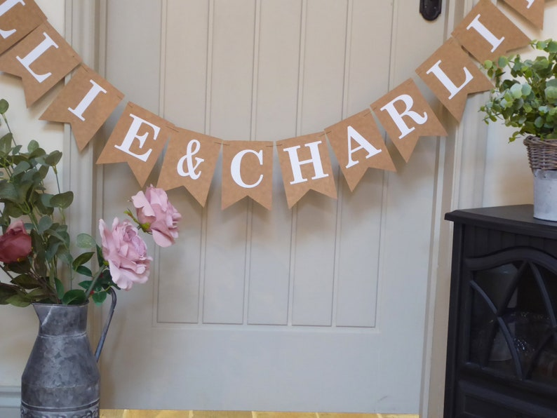 Personalised Wedding Bunting Decoration Custom Bunting Engagement Anniversary Party Banner