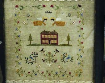 God Bless Our Home - original primitive cross stitch pattern, instant download, digital