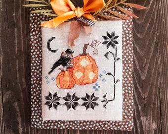 The Snowflower Diaries: LIGHTS OF HALLOWEEN cross stitch pattern, instant download, pdf, digital, primitive, halloween design, spooky