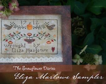 Eliza Marlow Sampler - digital cross stitch pattern by The Snowflower Diaries, primitive, original design