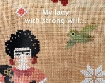 VIVA LA FRIDA - cross stitch pattern, instant download, The Snowflower Diaries, primitive, sampler, Kahlo, monkey, papaguay