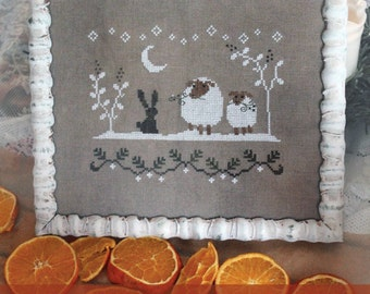 WINTER FRIENDS - cross stitch pattern, instant download, The Snowflower Diaries, christmas, primitive, sampler, embroidery