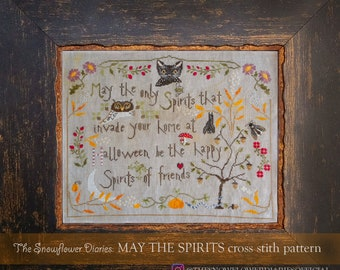 The Snowflower Diaries: MAY THE SPIRITS, instant download, digital pattern, cross stitch pattern, halloween, autumn, primitive, easy