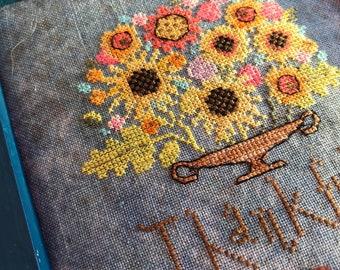 SUNFLOWER BASKET by The Snowflower Diaries, instant download, original cross stitch pattern, digital pattern, pdf, primitive