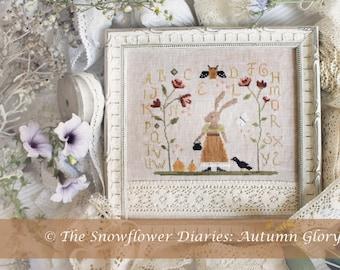 AUTUMN GLORY - cross stitch pattern, instant download, The Snowflower Diaries, primitive, autumn, halloween, bunny, sampler