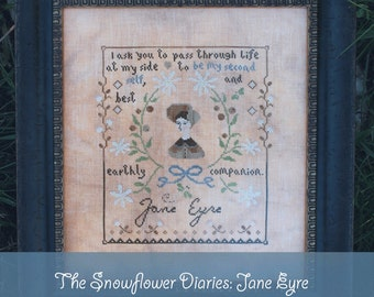 JANE EYRE - cross stitch pattern, instant download, The Snowflower Diaries, primitive, sampler, classical, quote, embroidery, Rochester