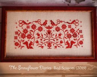 RED SCISSORS - instant download, digital, original cross stitch pattern, The Snowflower Diaries, redwork