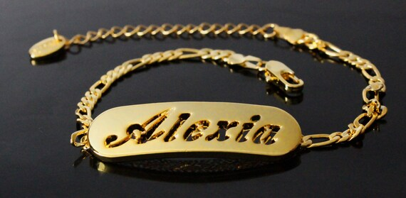 Items Similar To Bracelet With Name Alexia Gold Plated 10 Figaro Chain Including Free Gift Box Gift Bag On Etsy