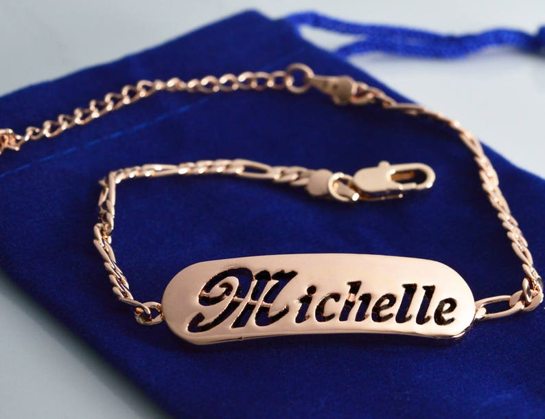 MICHELLE Name Necklace /& Name Bracelet Jewellery Set 18K Gold Plated Anniversary Custom Made Crystals Birthday Christmas Gifts For Her
