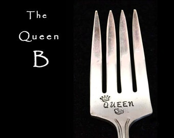 Stamped Fork Vintage Silverware, Queen Bee, Personalized Engraved Flatware Bee Fork Gifts Under 15 Funny Forks Queen B