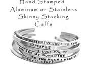 Hand Stamped Aluminum Cuff Bracelet Stainless Steel Skinny Hammered Stacking Cuffs Customized Personalized Jewelry Engraved Mantra Bracelet