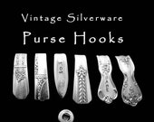 Spoon Handle Purse Hook, Engraved Silverware Hand Stamped Key Ring Vintage Spoons Gifts Under 15 Pocketbook Hook Gift for Her