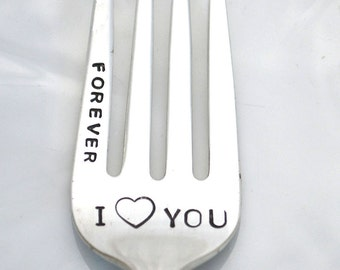 Stamped Fork I Love You Forever Personalized Flatware Hand Stamped Silverware Dessert Forks Romantic Gifts Under 15 Funny Forks