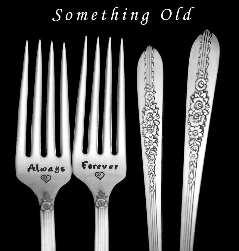 Stamped Wedding Forks Always and Forever Fork Something Old Vintage Engraved Flatware Engagement Gift Floral Silverware Royal Rose