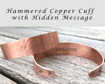 Hammered Copper Cuff Hand Stamped  Bracelet Tapered Aluminum Cuff Hidden Message Personalized Jewely Gifts Under 30 Engraved Mantra Bracelet