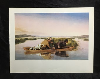 """1972 Vintage HUNTING /""""DUCK HUNTERS ON THE HOBOKEN MARSHES 1849/"""" Color Lithograph"""