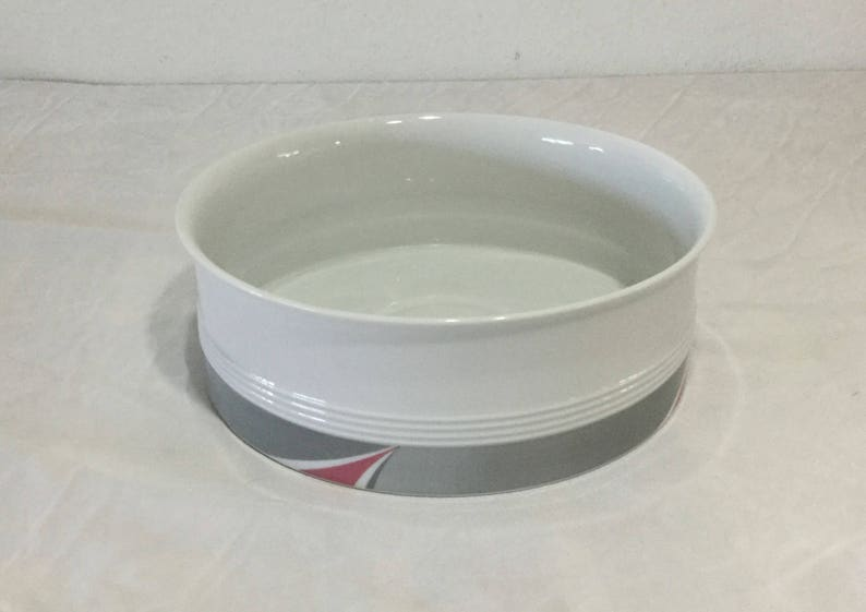 Friesland Germany Large Round Serving Bowl Gray Pink Mid century